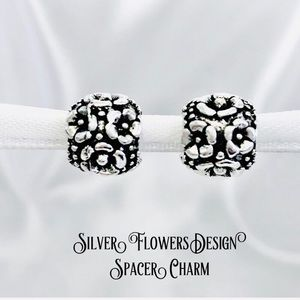 Silver Flowers Design Spacer Charm